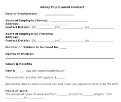 20 Things That Should Be In Your Written Nanny / Employer Work ...